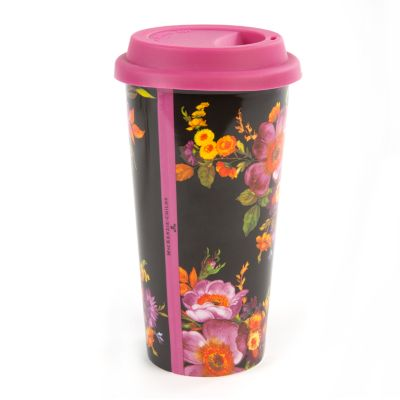 Black Flower Market Travel Cup