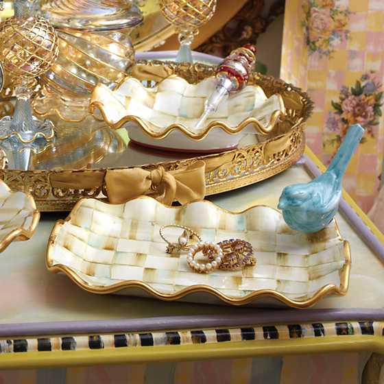 Parchment Check Vanity Tray image two