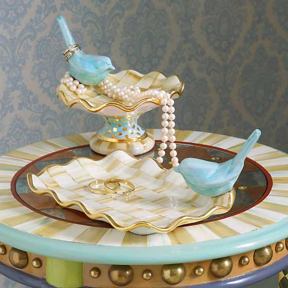 Parchment Check Vanity Tray image three