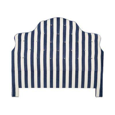 Marquee Headboard - Chenille Navy Stripe - Queen