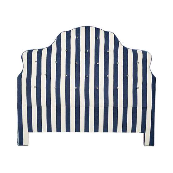 Marquee Headboard - Chenille Navy Stripe - Queen image one