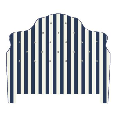 Marquee Headboard - Chenille Navy Stripe - King