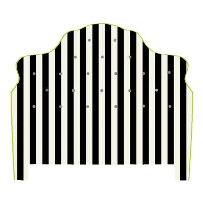 Marquee Headboard - Chenille Black Stripe - King