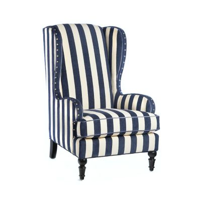 Marquee Wing Chair - Chenille Navy Stripe