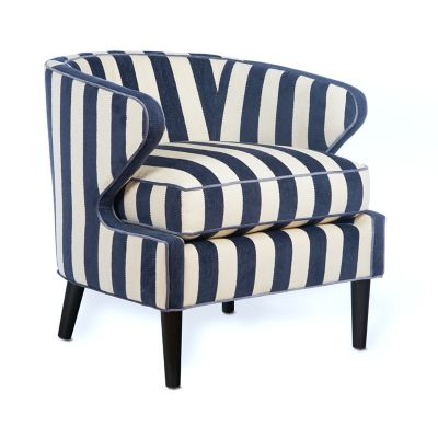 Image for Marquee Accent Chair - Chenille Navy Stripe