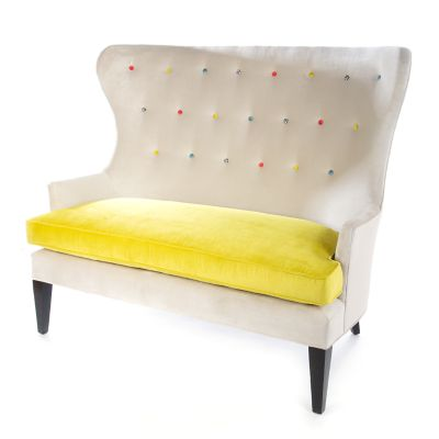 Cream at the Top Settee - Green Grape