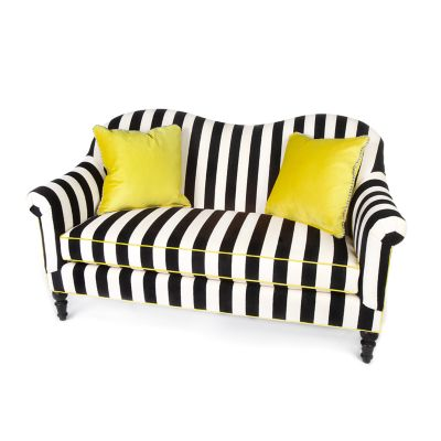 Marquee Loveseat - Chenille Black Stripe