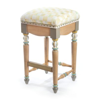 Parchment Check Underpinnings Counter Stool