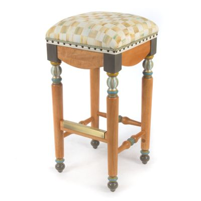 Parchment Check Underpinnings Bar Stool