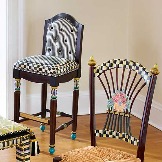 Courtly Check Underpinnings Bar Stool with Back