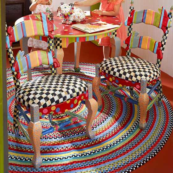 Mackenzie childs rabbit chair for Mackenzie childs fish rug
