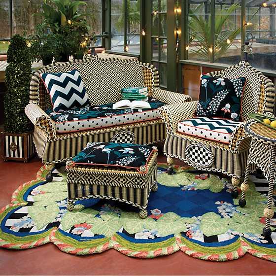 Terrific Mackenzie Childs Courtyard Outdoor Loveseat Wood Iris Evergreenethics Interior Chair Design Evergreenethicsorg