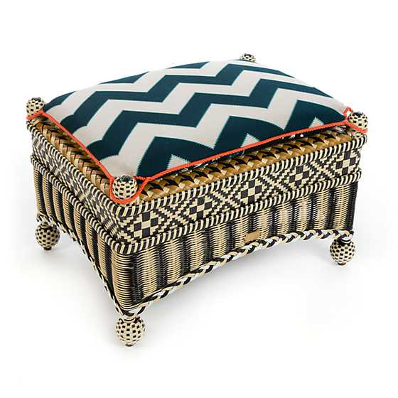 Courtyard Outdoor Ottoman - Wood Iris image three