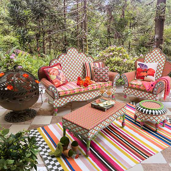 Breezy Poppy Outdoor Ottoman image two