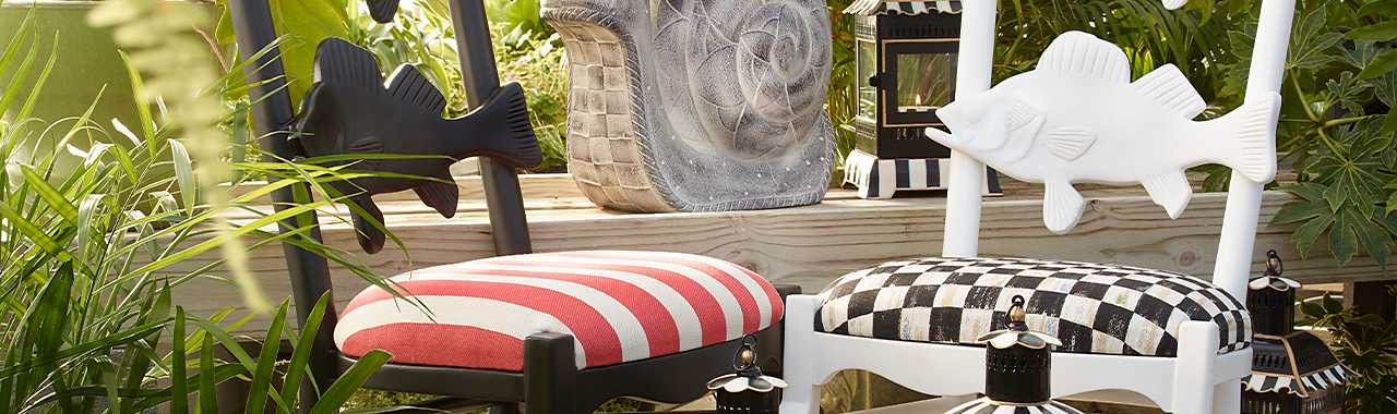 Outdoor Fish Chair - Courtly Check Banner Image
