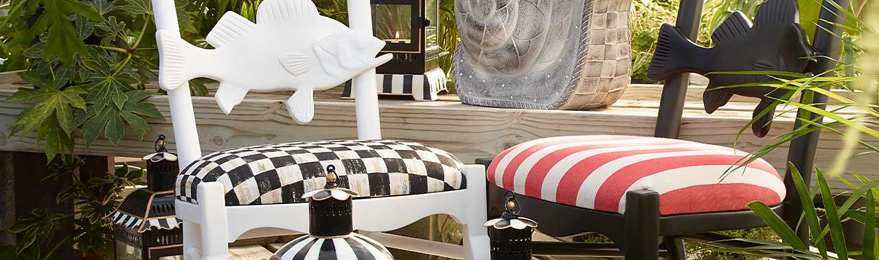 Outdoor Fish Chair - Cabana Stripe Banner Image