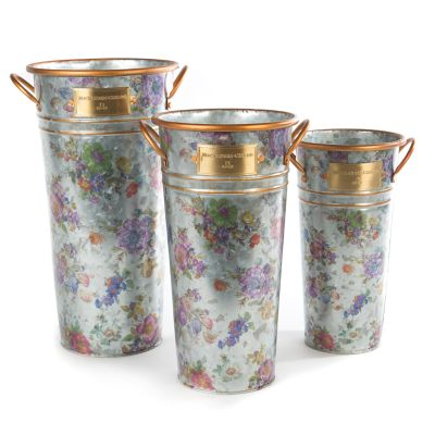 Flower Market Galvanized Flower Buckets - Set of 3