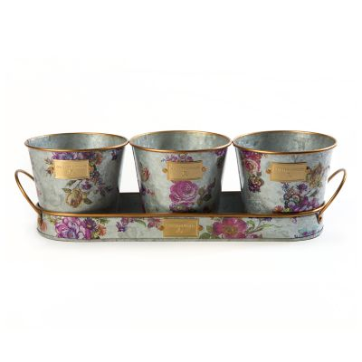Flower Market Herb Pots with Tray - Set of 3