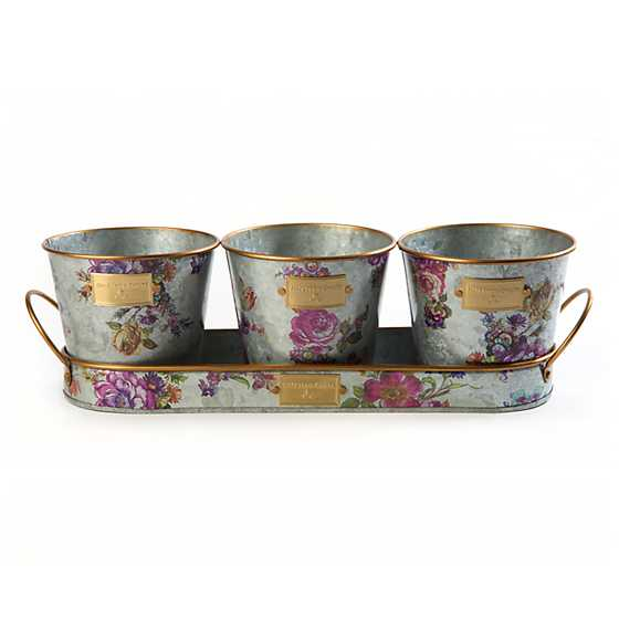 Flower Market Galvanized Herb Pots with Tray - Set of 3