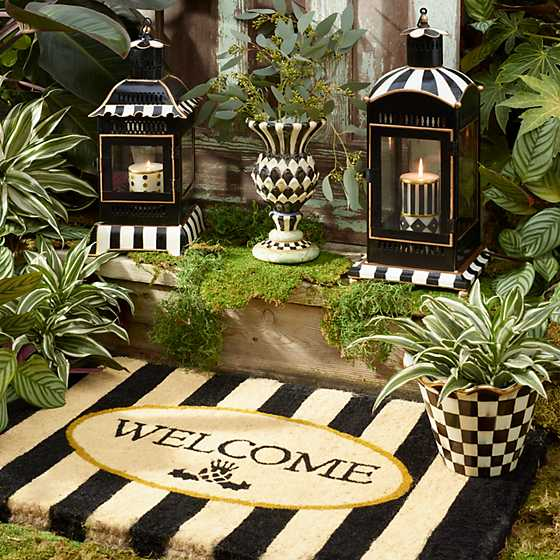 Courtly Stripe Candle Lantern - Large image five