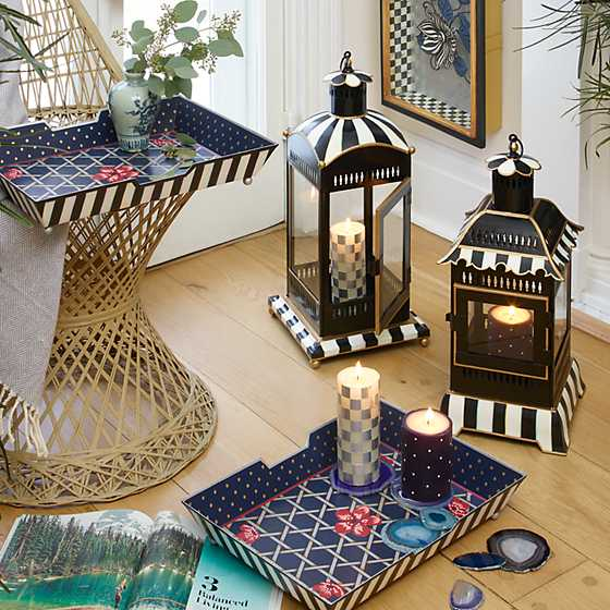 Courtly Stripe Candle Lantern - Large image six