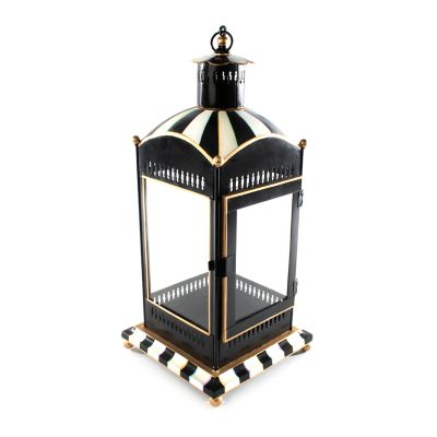 Courtly Stripe Candle Lantern - Large