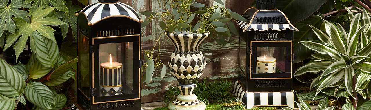 Courtly Stripe Candle Lantern - Small Banner Image