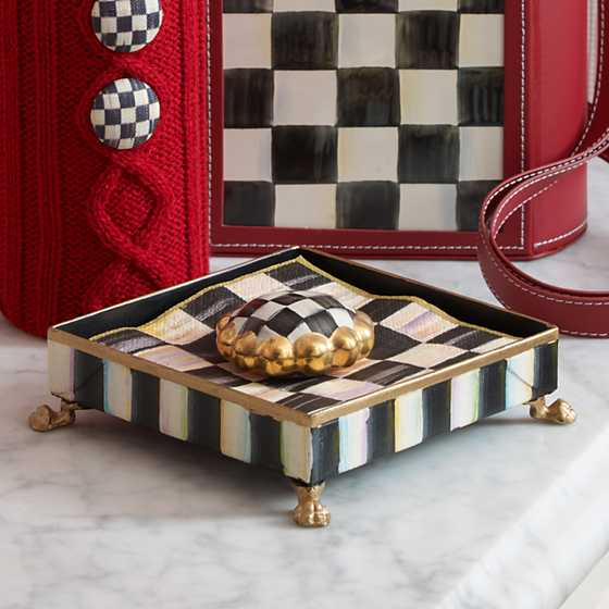 Courtly Check Cocktail Napkin Holder Set - Gold image three