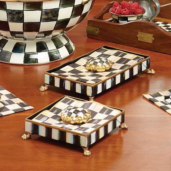 Courtly Check Cocktail Napkin Holder Set - Gold image four
