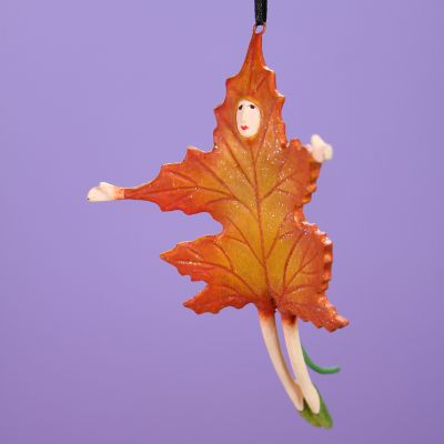 Patience Brewster Orange Falling Leaf Mini Ornament