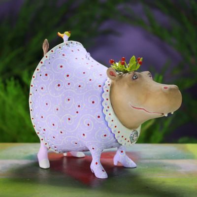 Patience Brewster Jambo Helen Hippo Ornament - Brown