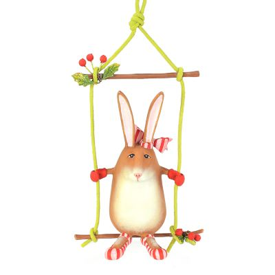 Patience Brewster Rebecca Rabbit on Swing Ornament