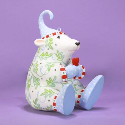 Patience Brewster Pricilla Polar Bear & Heart Figure - Blue