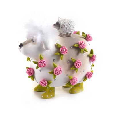 Patience Brewster Willow Working Sheepdog & Lamb Ornament