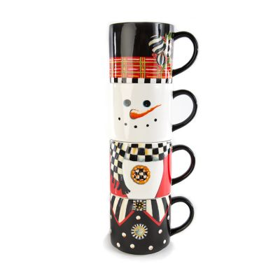 Top Hat Snowman Mug Tower - Set of 4