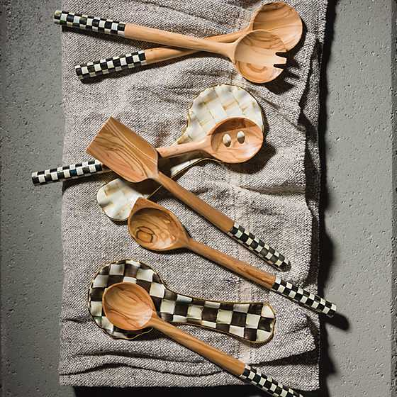 Courtly Check Olivewood Salad Serving Set