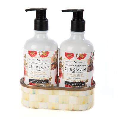 Morning Glory Soap & Lotion Caddy Set