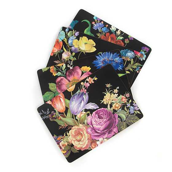 Flower Market Placemats - Black - Set of 4 image three