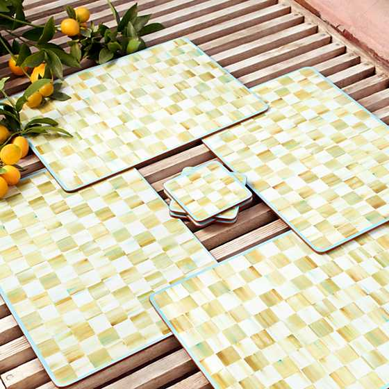 Parchment Check Cork Back Placemats - Set of 4 image four