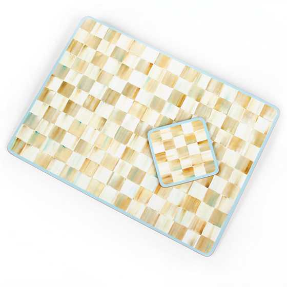 Parchment Check Cork Back Placemats - Set of 4 image thirteen