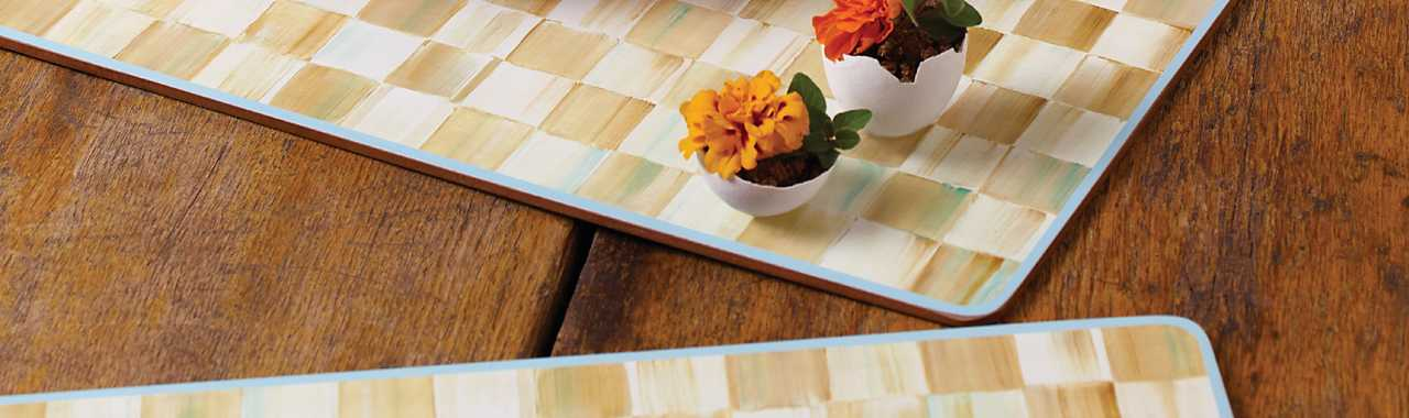 Parchment Check Cork Back Placemats - Set of 4 Banner Image