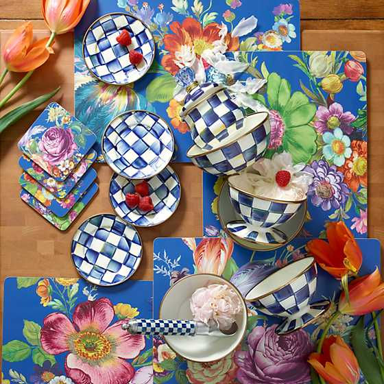 Flower Market Lapis Cork Back Placemats - Set of 4 image two