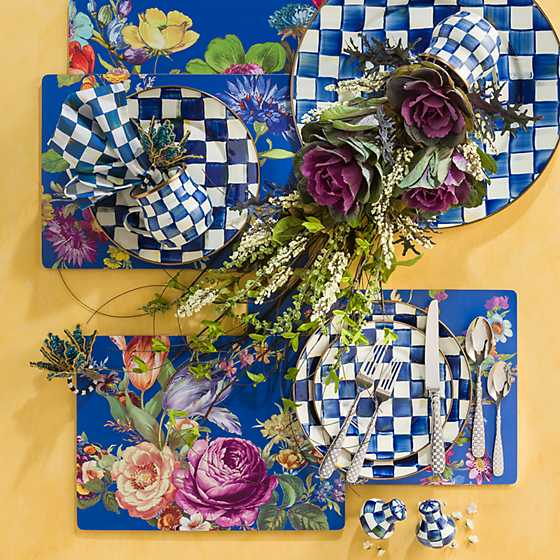 Flower Market Lapis Cork Back Placemats - Set of 4 image four