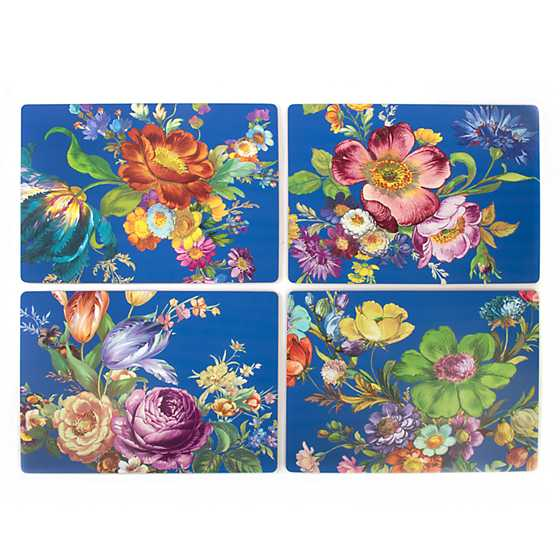 Flower Market Lapis Cork Back Placemats - Set of 4 image three