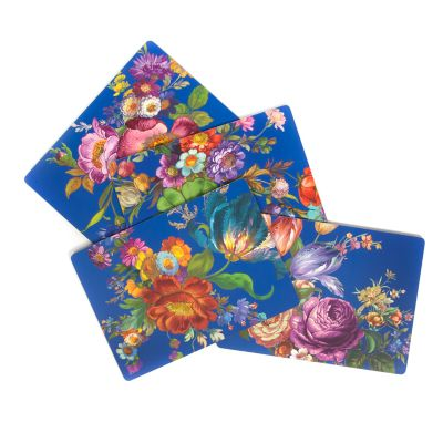 Flower Market Lapis Cork Back Placemats - Set of 4