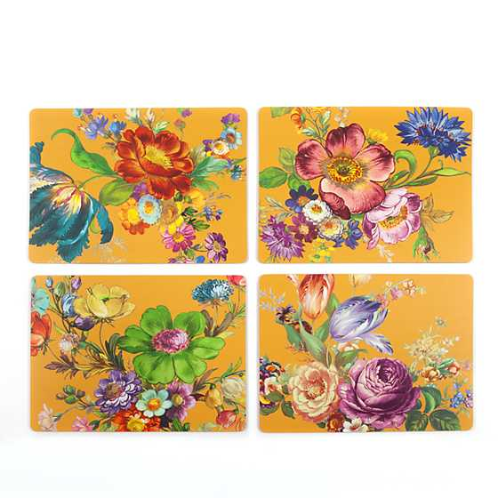 Flower Market Ochre Cork Back Placemats - Set of 4 image three