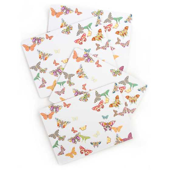 Butterfly Garden Placemats   White   Set Of 4