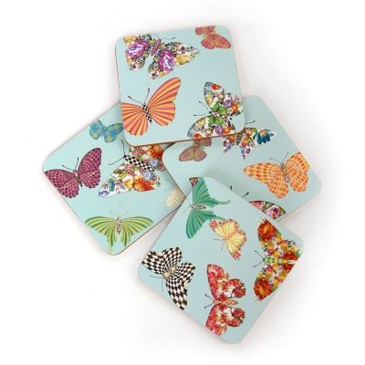 Butterfly Garden Cork Coasters - Sky - Set of 4