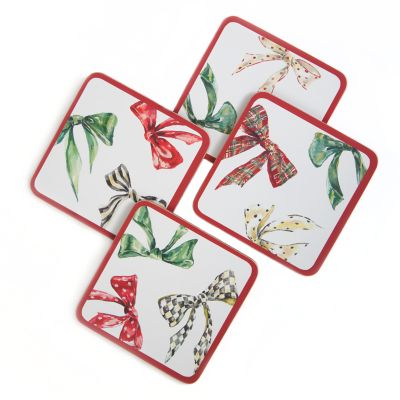 Holiday Bows Cork Back Coasters - Set of 4