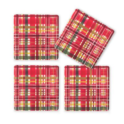 Festive Tartan Cork Back Coasters - Set of 4